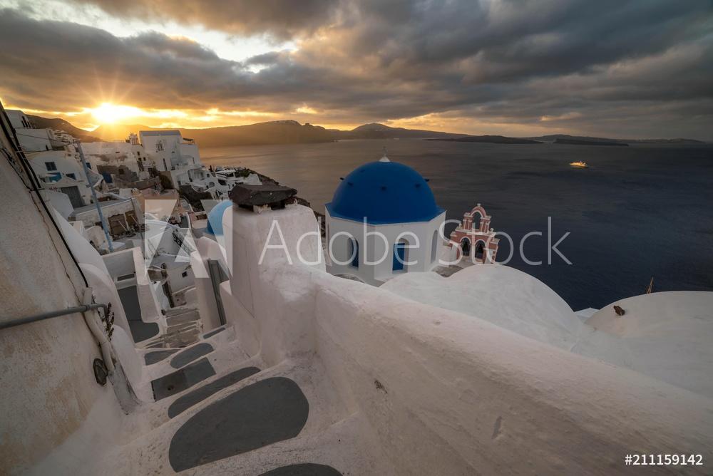 Fotobehang Santorini op in huis